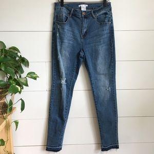 Jeans cropped frayed destructed denim high waisted